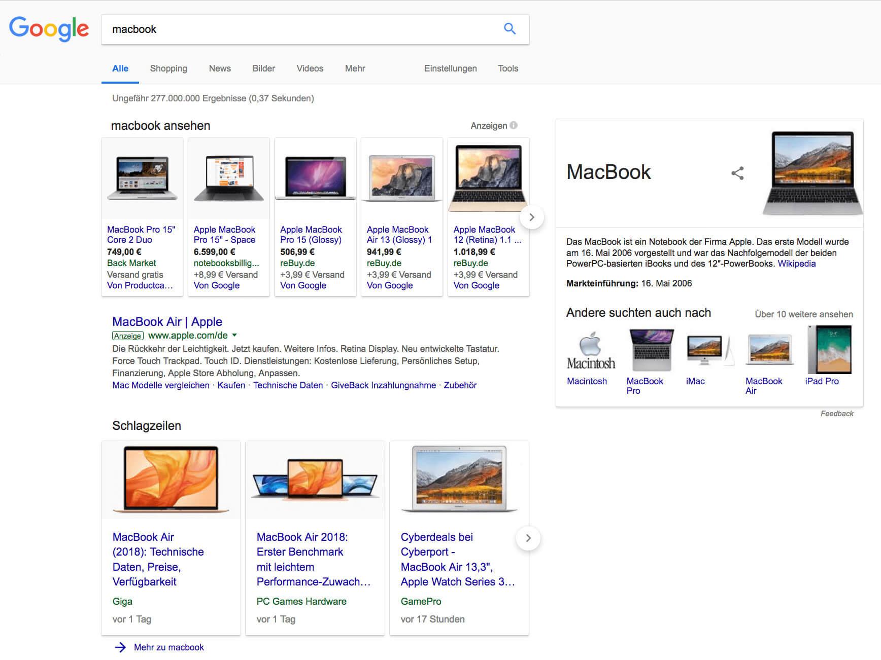 MacBook Google SERP Ergebnisse